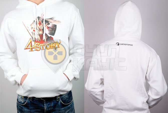 4Story Kapüşonlu Beyaz Sweatshirt