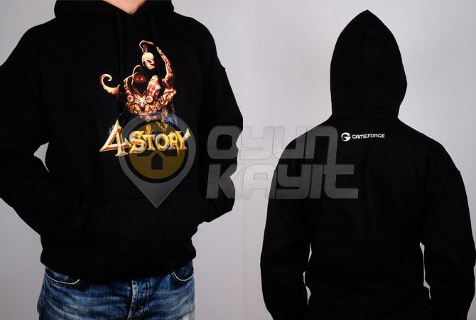 4Story Kapüşonlu Siyah Sweatshirt